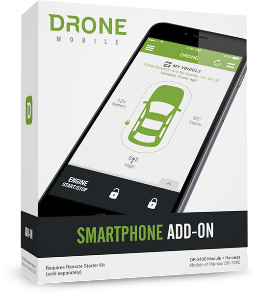 Drone mobile remote start. compustar drone mobile. compustar DR-3400 smart phone starter Toronto. drone mobile smart start north york